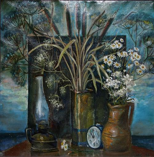 Still Life with Reed still life - oil painting still-life oil reed camomiles alarm