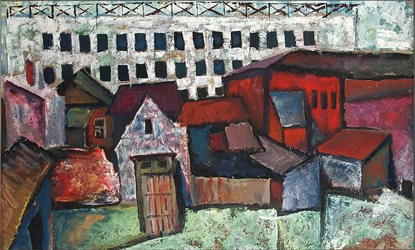 Backyard cityscape - tempera painting