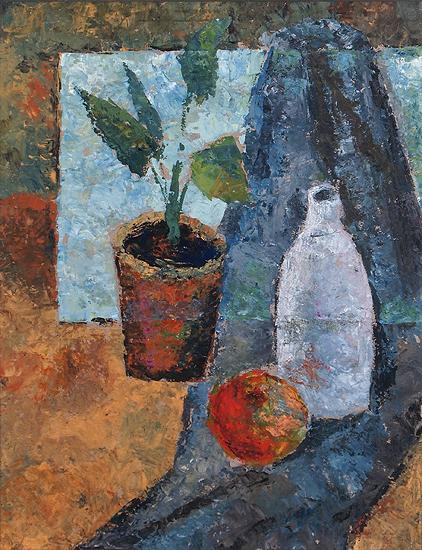 Still Life with a White Bottle still life - tempera painting
