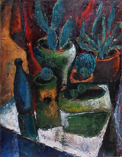 Cacti still life - tempera painting