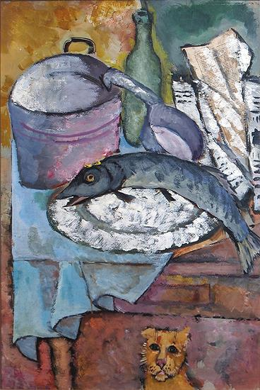 Fish still life - tempera painting