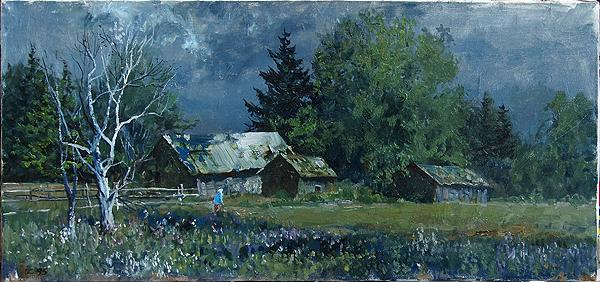 Rinovka Village rural landscape - oil painting