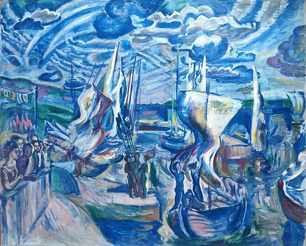 Wind at the Volga River genre scene - oil painting