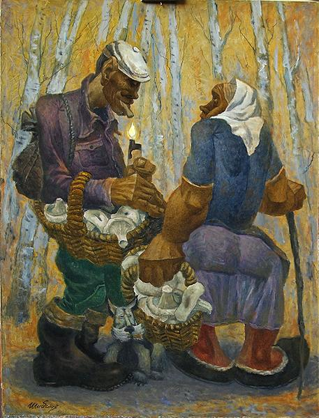 Mushroom Time genre scene - oil painting