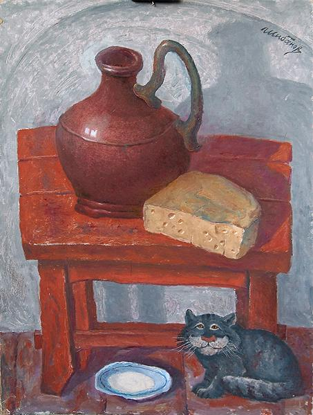 Cheese and Wine, Cat and Milk genre scene - oil painting