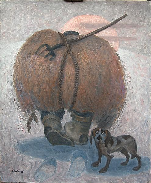 Hay and Straw story composition - oil painting