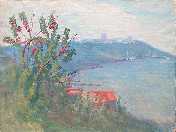 View of Ulyanovsk seascape - oil painting