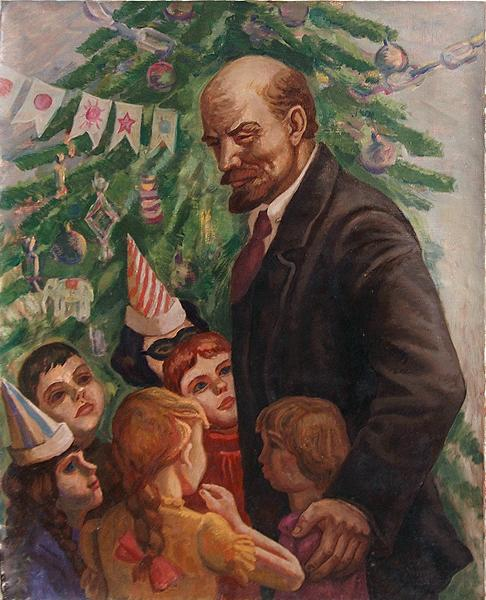 Lenin and Children social realism - oil painting