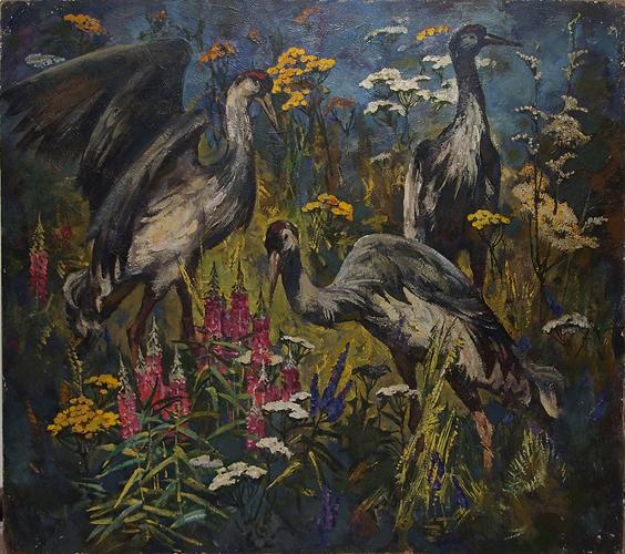 Crane Field animals - oil painting
