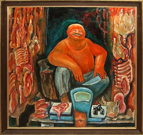 Butcher genre scene - oil painting