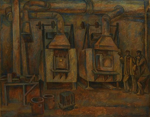 Workshop industrial landscape - tempera painting