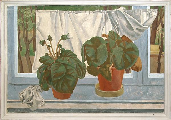 Window Plants still life - tempera painting
