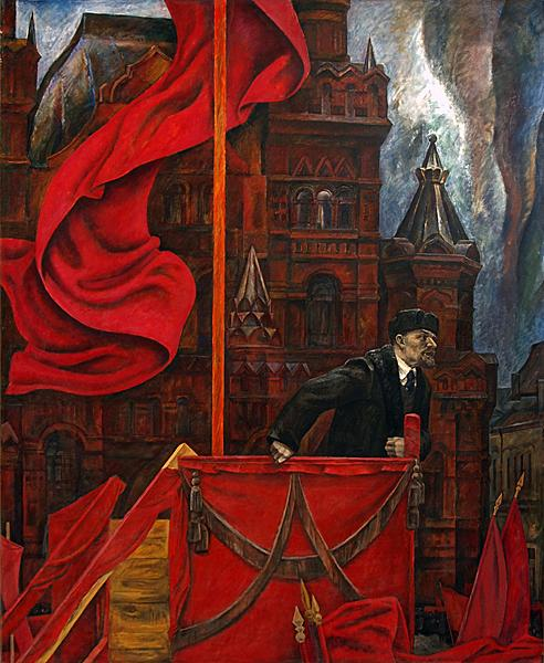 Lenin on the Red Square social realism - oil painting