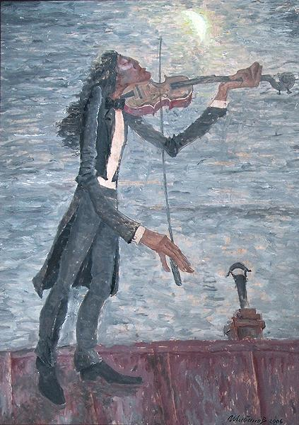 Violinist on the Roof story composition - oil painting