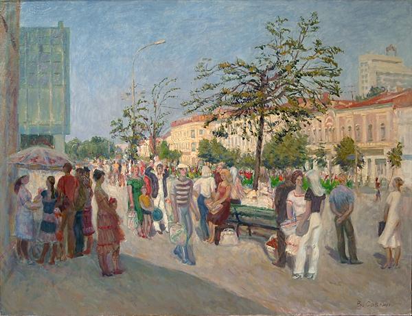 Goncharova Street cityscape - oil painting