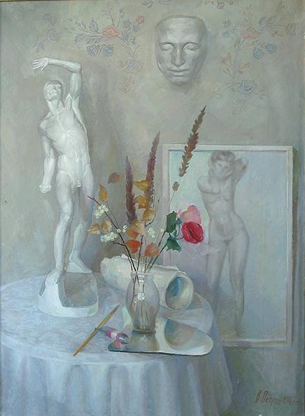 Still Life with a Mask of Pushkin still life - oil painting