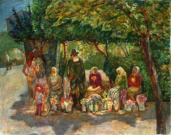 Flower Market genre scene - oil painting
