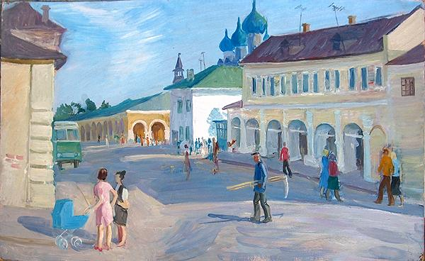 In Rostov the Great cityscape - oil painting