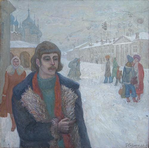 Winter in Rostov the Great genre scene - oil painting