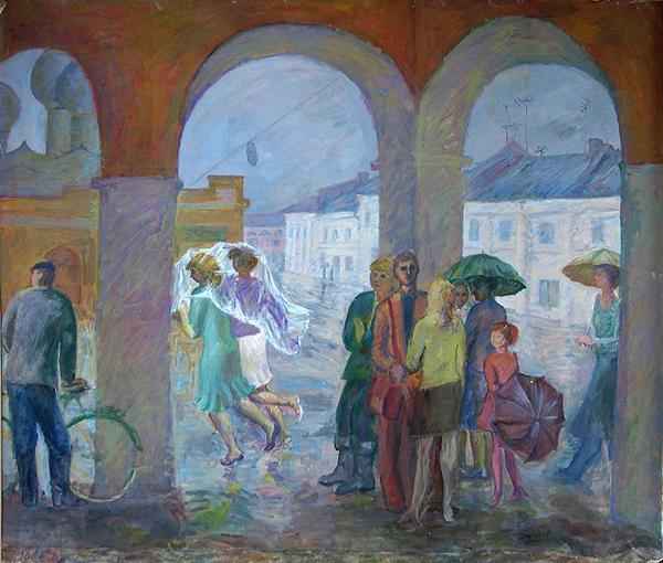 Дождь в Ростове Великом жанровая сцена - масло живопись