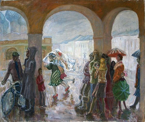 Rain in Rostov the Great genre scene - oil painting