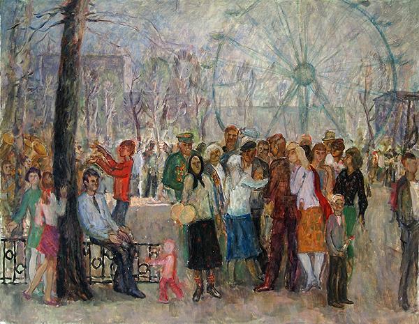 Walking genre scene - oil painting
