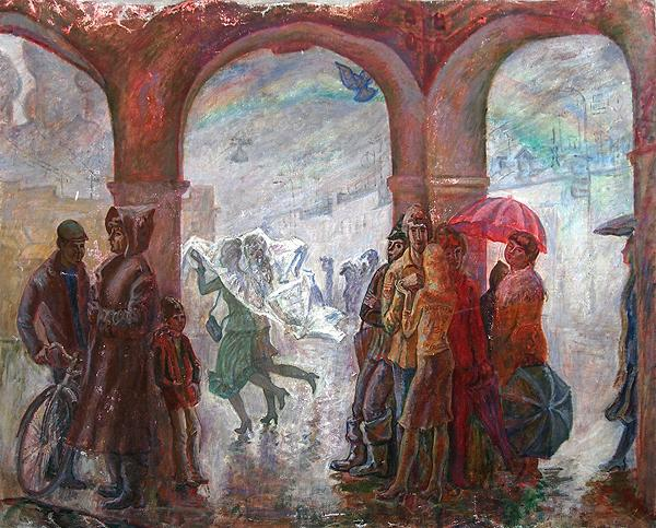 Rostov the Great. Rain genre scene - oil painting