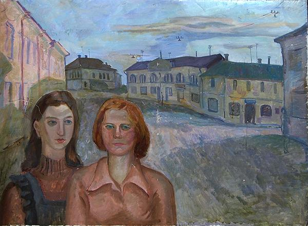 Old Town genre scene - oil painting