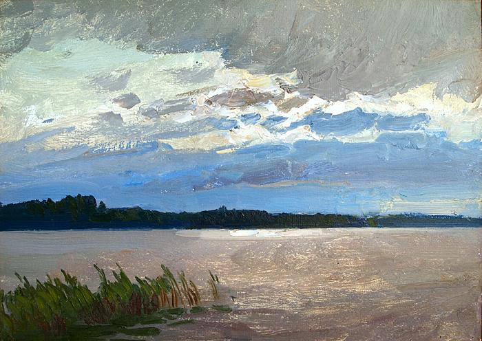 Lake summer landscape - oil painting