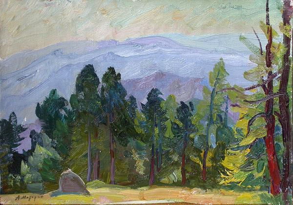 The Altai summer landscape - oil painting