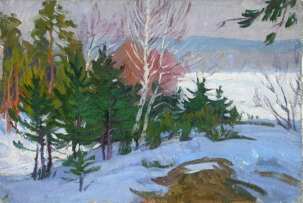 On the Hill in the Shadow winter landscape - oil painting