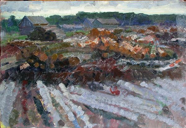 Sawmill rural landscape - oil painting