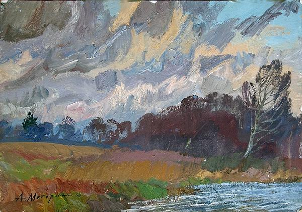Windy  autumn landscape - oil painting