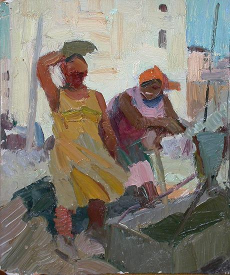 Construction Site social realism - oil painting