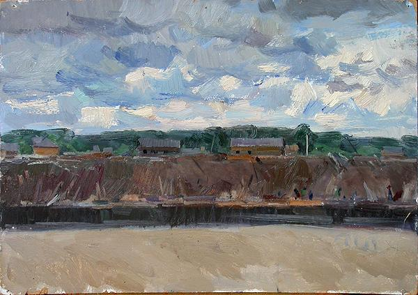 Dull Day industrial landscape - oil painting