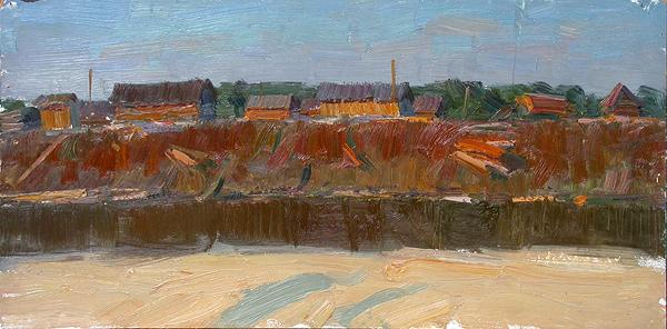 View of a Sawmill industrial landscape - oil painting