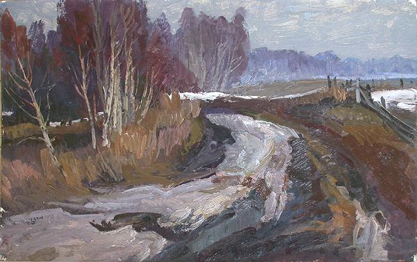 Bad Roads autumn landscape - oil painting