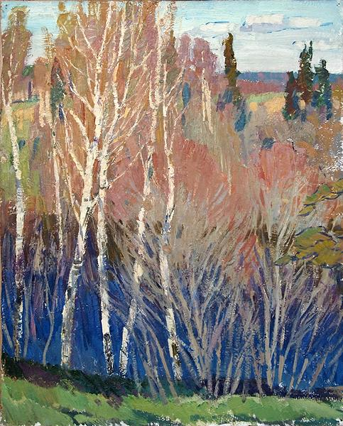 Birches at the Water spring landscape - oil painting