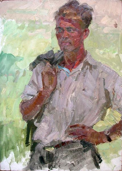 Tractor Driver portrait or figure - oil painting