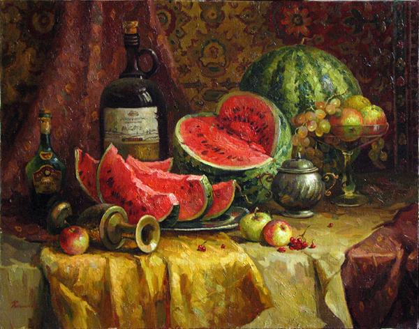 Watermelons still life - oil painting