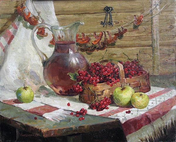 Berries and a Jug still life - oil painting