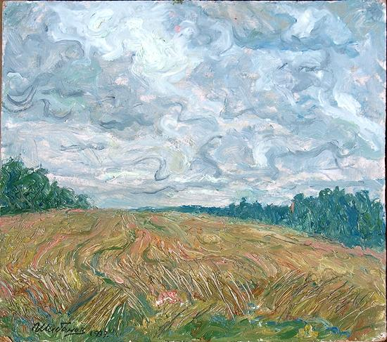 Rye summer landscape - oil painting