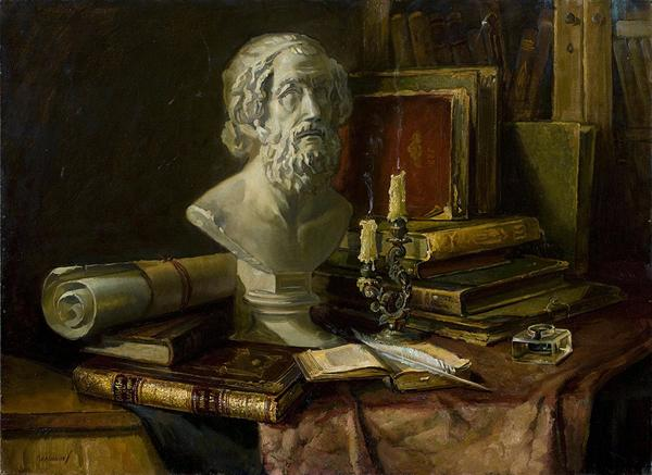 In the Old Library still life - oil painting