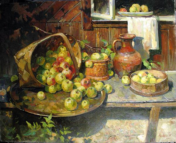 Apples on a Tray still life - oil painting