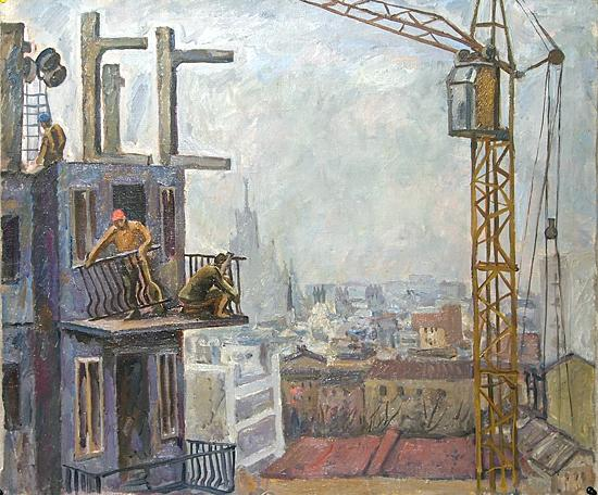 Building Moscow industrial landscape - oil painting