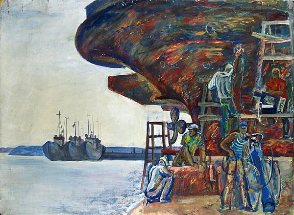 Repairing Ships genre scene - oil painting