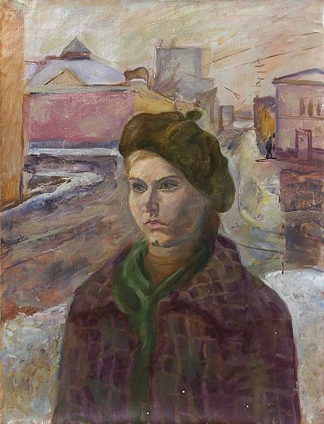 Girl in a Beret portrait or figure - oil painting