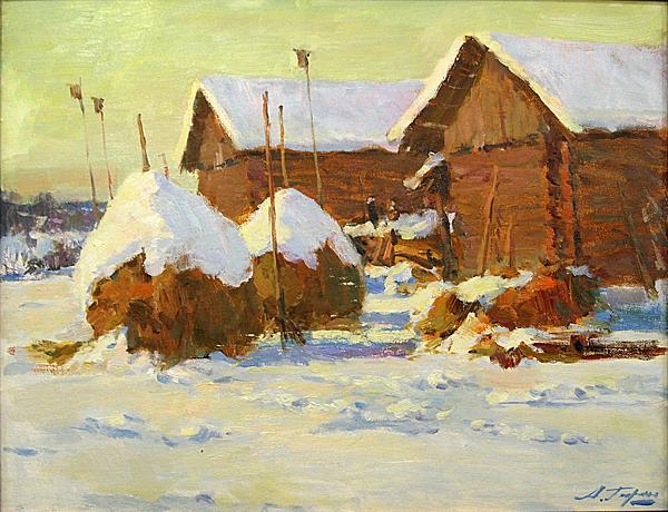 Sheds rural landscape - oil painting