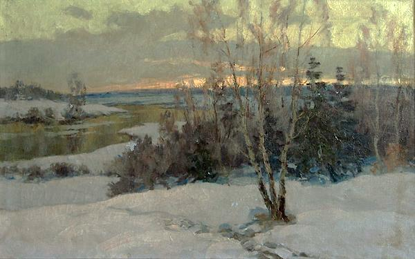Spring Evening winter landscape - oil painting
