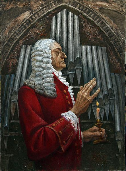 Johann Sebastian Bach. Portrait portrait or figure - oil painting